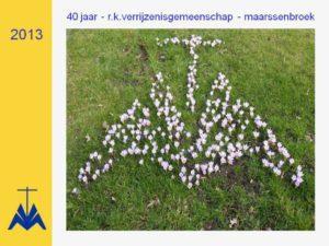 40 jaarVGM logo in tuin alt-tekst verrijzenisgemeenschap